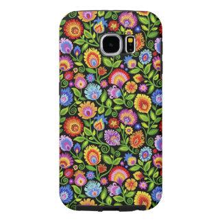 花柄黒い野生の花Wycinanki Folky Samsung Galaxy S6 ケース