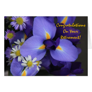 花柄、アイリスおよび小型デイジーの退職 カード