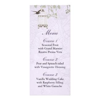 花柄|紫色|鳥|おり、|愛|鳥|メニュー|カード ラックカードデザイン