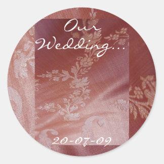 花柄|結婚|I|ステッカー|-|カスタマイズ可能 丸型シール