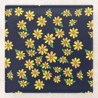 花模様のデイジー ガラスコースター