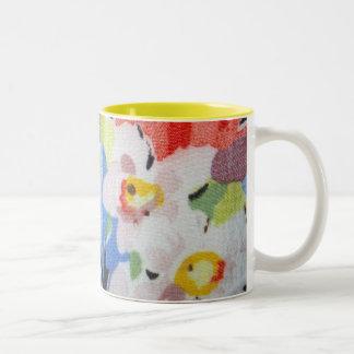 花模様のマグのヴィンテージの生地 ツートーンマグカップ