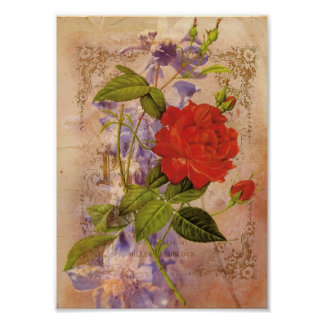 花模様のヴィンテージのデジタルコラージュ ポスター