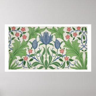 花模様の壁紙のデザイン ポスター