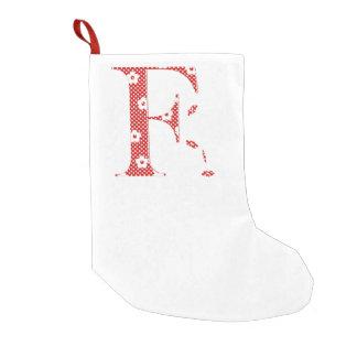 花模様の手紙F (赤い) スモールクリスマスストッキング