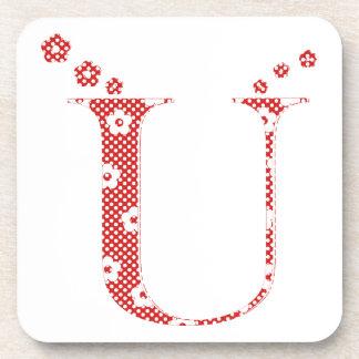 花模様の手紙U (赤い) コースター