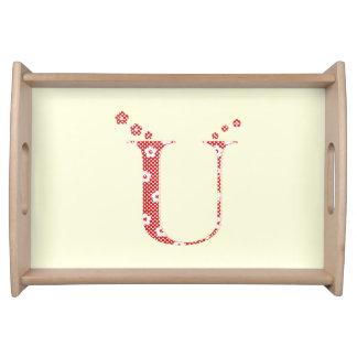 花模様の手紙U (赤い) トレー