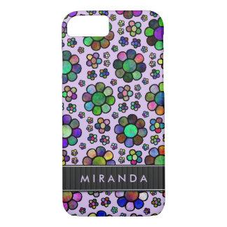 花模様のTieDyeのカラフルな紫色の名前入り iPhone 8/7ケース