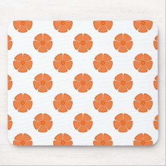 花模様2のCelosiaのオレンジ マウスパッド