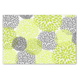 花淡黄緑の緑の灰色のダリアのミイラ 薄葉紙