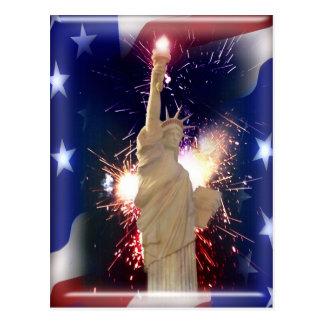 花火との自由の女神のための7月第4 ポストカード