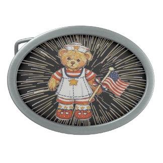 花火のベルトの留め金を持つヴィンテージのテディー・ベア 卵形バックル