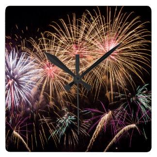 花火の時計 スクエア壁時計