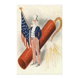 花火の爆竹の米国市民米国の旗 キャンバスプリント