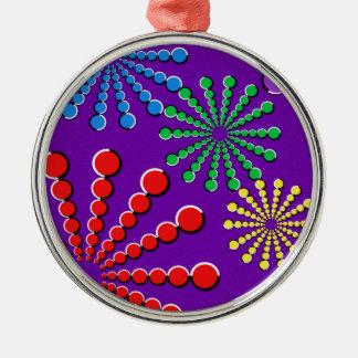 花火の目の錯覚の虹のデザイン シルバーカラー丸型オーナメント