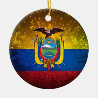 花火; エクアドルの旗 セラミックオーナメント