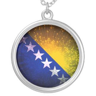 花火; ボスニアの旗 シルバープレートネックレス