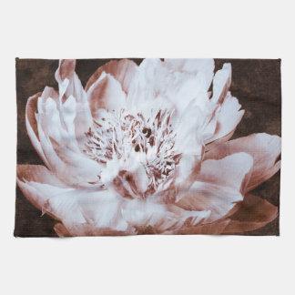 花白黒シャクヤクの花のセピア色のシャクヤク キッチンタオル
