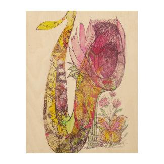 花盛りのサクソフォーンの下の妖精 ウッドウォールアート