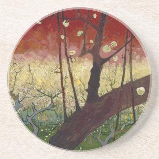 花盛りのスモモの木のコースター コースター