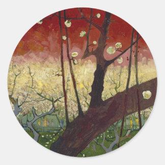 花盛りのスモモの木のステッカー ラウンドシール