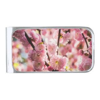 花盛りのプラム-ピンクのParadize 銀色 マネークリップ