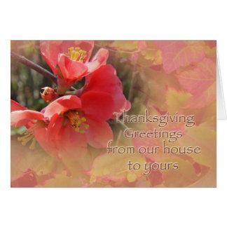花盛りのマルメロ- Chaenomelesのspeciosa カード