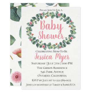 花盛りのユーカリのリースのベビーシャワーの招待状 カード