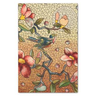 花盛りの木のステンドグラスのスタイルの鳥 薄葉紙