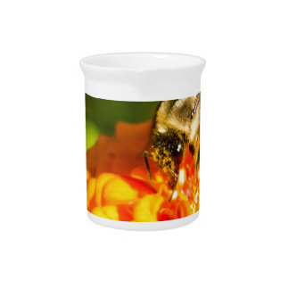 花粉の嚢が付いている蜂蜜の蜂のオレンジ黄色の花 ピッチャー