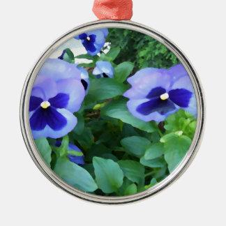 花紫色のラベンダーの庭のパンジーの花 メタルオーナメント