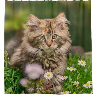 花草原のたらいのかわいいメインのあらいぐまの子ネコ猫 シャワーカーテン