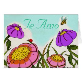 """花草原の""""Te Amo""""スペインのな愛カード カード"""