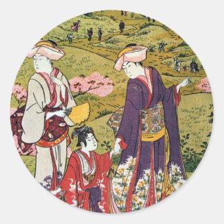 花見の(の三の)、清長の花の観覧(3)、Kiyonaga、Ukiyo-e ラウンドシール