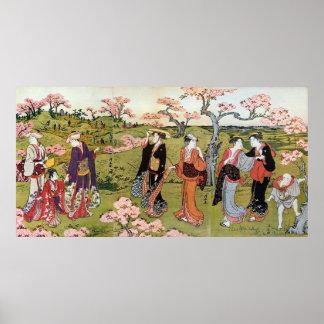 花見、清長の花の観覧、Kiyonaga、Ukiyo-e ポスター