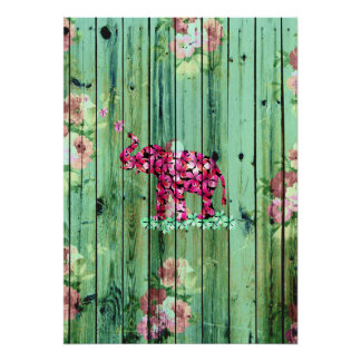 花象のピンクの桜の緑のストライプのな木 ポスター