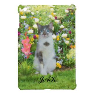 花間の青い目の猫、モノグラム iPad MINIケース