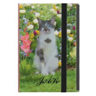 花間の青い目の猫、モノグラム iPad MINI ケース