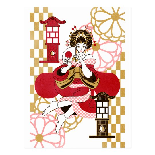 花魁と行灯(Oiran and Andon) ポストカード
