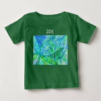 花鮮やかで抽象的な混合メディア ベビーTシャツ