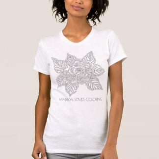 花020617の大人の着色のおもしろいのファッションは上がりました Tシャツ