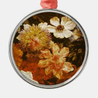 花(キャンバスの油)の詳細 メタルオーナメント