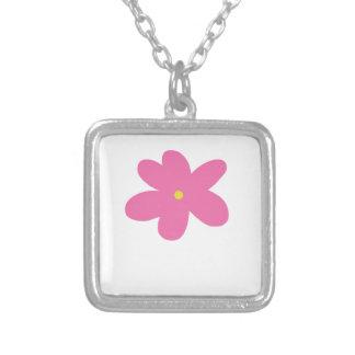 花 シルバープレートネックレス