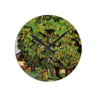 花、ファインアートのゴッホのクリの木 ラウンド壁時計
