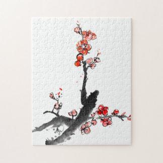 花、プラム花の中国のな絵画 ジグソーパズル