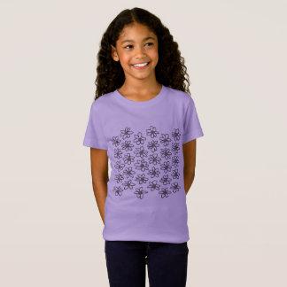 花/ラベンダーの版が付いているTシャツをからかいます Tシャツ
