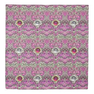 花、孔雀、ドラゴン、ピンクの白い宝石 掛け布団カバー