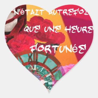 花、時間および幸福メッセージ ハートシール