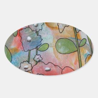 花 楕円形シール