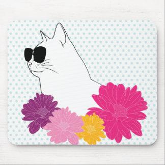 """花、水玉模様が付いている""""夏猫""""ラインスケッチ マウスパッド"""